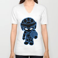 tron V-neck T-shirts featuring Mini Tron by thomasalbany