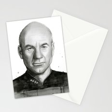 Captain Picard Watercolor Portrait Stationery Cards