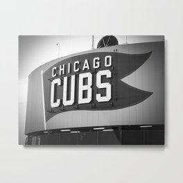 Wrigley Field Sign in Black and White Metal Print