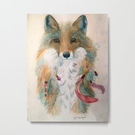 Feather Fox Metal Print