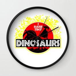 I Raise Tiny Dinosaurs Chicken Coop Chicks Farming Farmer Design Wall Clock