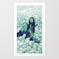 rabbits Art Prints featuring Rabbits by Hanged Man Studio