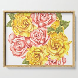 Pretty Watercolor Flowers Serving Tray