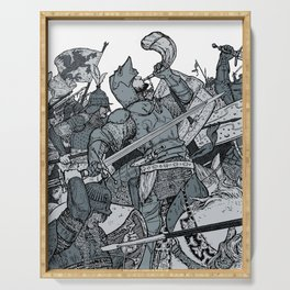 Saturday Knight Special STEEL BLUE / Vintage illustration redrawn and repurposed Serving Tray
