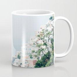 Positano landscape with white flowers Coffee Mug