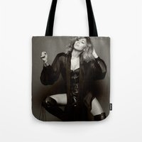miley cyrus Tote Bags featuring Miley Cyrus by BreakoutStore