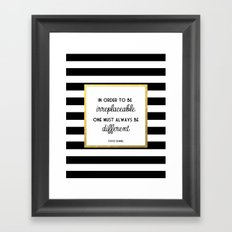 Coco Gold Irreplaceable Fashion Quote Framed Art Print