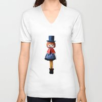 mad hatter V-neck T-shirts featuring Mad Hatter  by Mintwonderland