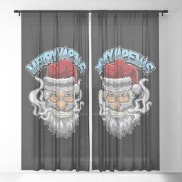 Merry Vapemas - Vaping Santa Claus - Vape Xmas Sheer Curtain