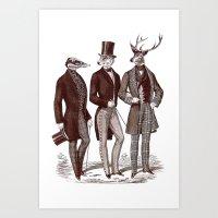 Gentlemen in the Woods Art Print