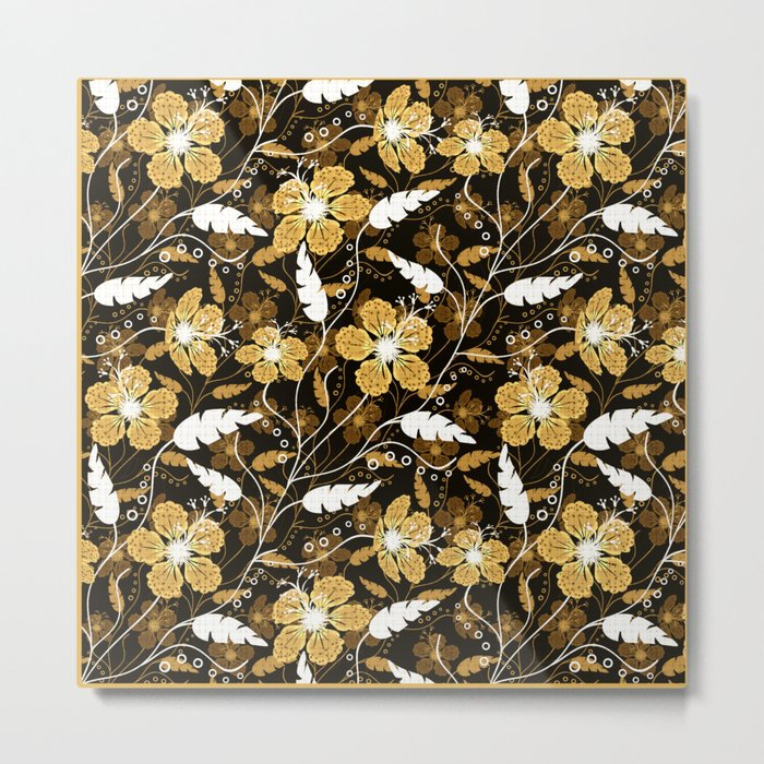 Abstract,floral pattern. Golden flowers on a black background. Metal Print