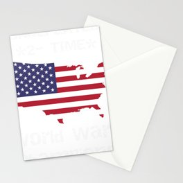 Patriotic Two Time World War Champs American Pride Stationery Cards