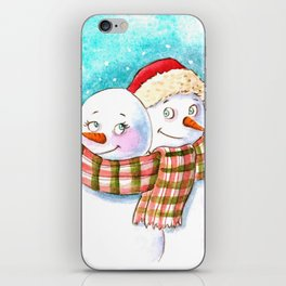 Snowmen in love iPhone Skin