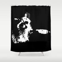 rocket raccoon Shower Curtains featuring Tough Raccoon by Pennyflip