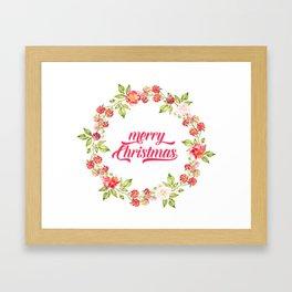Merry Christmas Modern Typography Christmas Berries Wreath Framed Art Print