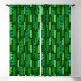 pixel brick geometric pattern_green Blackout Curtain