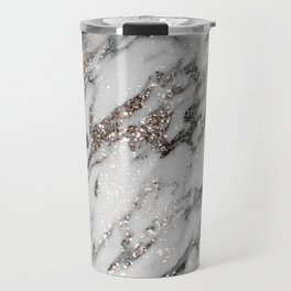 Classic White Marble Silver Glitter Glam #1 (Faux Glitter) #marble #decor #art #society6 Travel Mug
