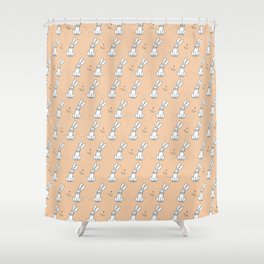 Cute Bunny with Flowers Light Orange Print Shower Curtain