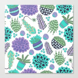 Succulents Pattern Canvas Print
