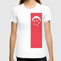 singapore T-shirts featuring Flag of Singapore by Neville Hawkins