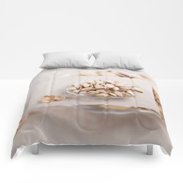 open pistachio nuts in shell Comforters
