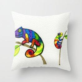 Little Rainbow Chamelons Throw Pillow