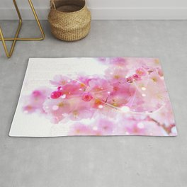 Japanese Sakura Tree with Pastel Pink Blossoms Rug