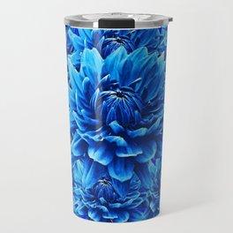 BLUE BUTTERFLIES, BLUE DAHLIA FLOWERS GARDEN ART Travel Mug