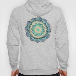 Midnight Bloom - detailed floral doodle in gold, navy blue & mint Hoody