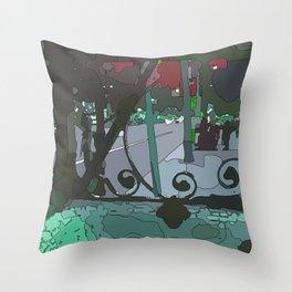 Barcelona stree Throw Pillow