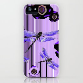 PURPLE DRAGONFLIES & BLACK POPPY FLOWERS ART iPhone Case