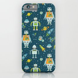 Robots in Space - Blue + Green iPhone Case