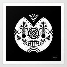 Priest Circle- black on black Art Print