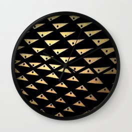 black and gold dotted triangles pattern Wall Clock