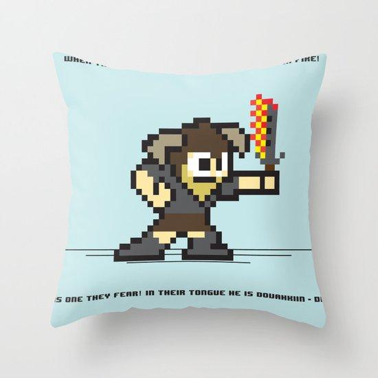 8 bit Dovahkiin Throw Pillow