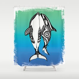 Two Orca Whales Teal Blue Shower Curtain