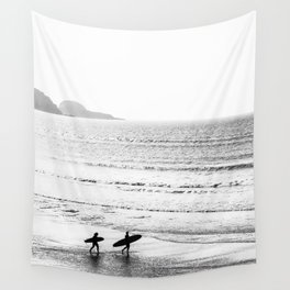 Surfers, Black and White, Beach Photography Wall Tapestry