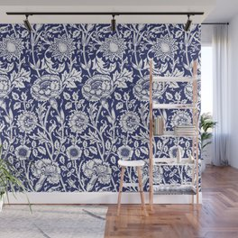 "William Morris Floral Pattern | ""Pink and Rose"" in Navy Blue and White Wall Mural"