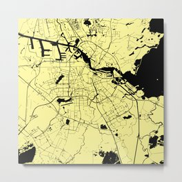 Amsterdam Yellow on Black Street Map Metal Print