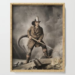 The American Fireman - Facing the Enemy - 1858 Serving Tray