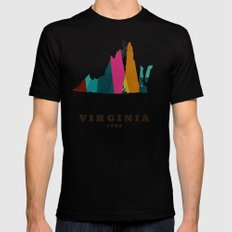 Virginia state map modern SMALL Black Mens Fitted Tee