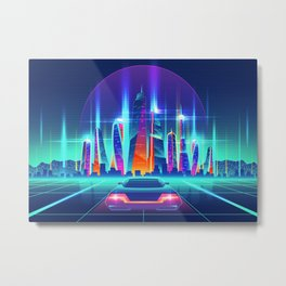 Synthwave Neon City #12 Metal Print