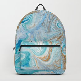 Marble turquoise gold silver Backpack