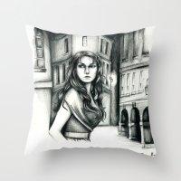 les miserables Throw Pillows featuring Les Miserables Portrait Series - Eponine by Flávia Marques