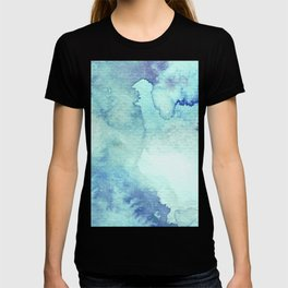 Watercolor pattern turquoise T-shirt