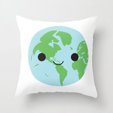 Happy Earth Throw Pillow