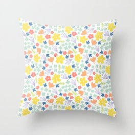 Pastel Spring Florals, Hand drawn, Seamless Pattern Throw Pillow