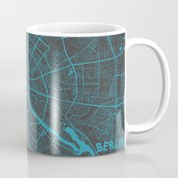 berlin Mugs featuring Berlin by Map Map Maps