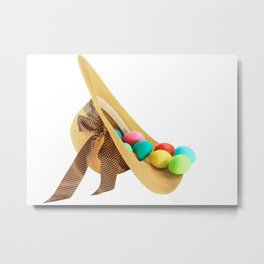 Colored Easter Eggs and woman hat Metal Print
