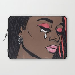 Coral Pink Crying Comic Girl Laptop Sleeve
